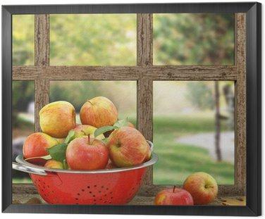Obraz w Ramie Jabłka w durszlak na drewniane okna z widokiem