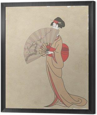 Obraz w Ramie Japonka z wachlarzem na starym papierze