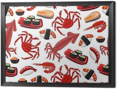 Obraz w Ramie Japońska kuchnia bez szwu deseń owoce morza