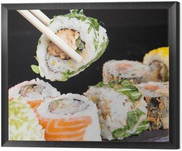 Obraz w Ramie Japoński zestaw sushi owoce morza