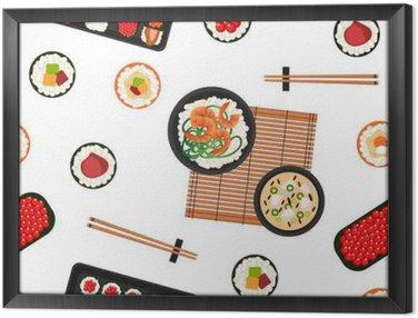 Obraz w Ramie Japońskie jedzenie. Owoce morza. Sushi tła. Seamless Pattern