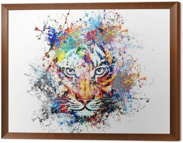 Obraz w Ramie Jasne tło z tygrysem