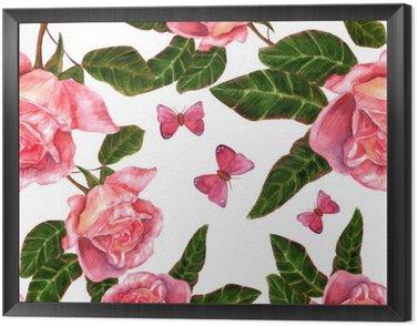 Jednolite tło wzór z rocznika stylu akwarela róż