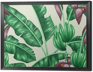 Obraz w Ramie Jednolite wzór z liści bananowca. Obraz dekoracyjne tropikalnych liści, kwiatów i owoców. Tło wykonane bez wycinek maska. Łatwy w obsłudze dla tło, tekstylia, papier pakowy