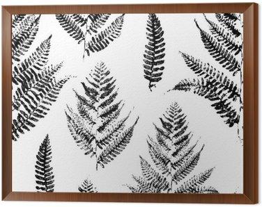 Obraz w Ramie Jednolite wzór z nadrukami farby liści paproci