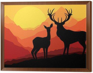 Obraz w Ramie Jeleń rodziny w górach dzikiego krajobrazu przyrody tle