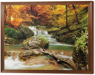 Obraz w Ramie Jesienią creek lasy z żółtym drzew