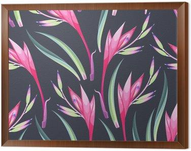 Obraz w Ramie Jungle kwiaty bez szwu