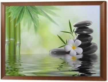 Obraz w Ramie Kamienie spa z frangipani