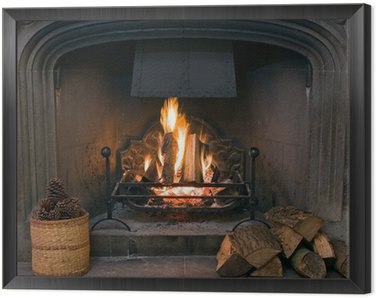 Obraz w Ramie Kamienny kominek z zapaloną ryk ognia