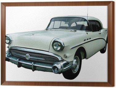 Obraz w Ramie Klasyczny biały samochód retro wyizolowanych