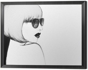 Obraz w Ramie Kobieta w okularach. Akwarele ilustracji
