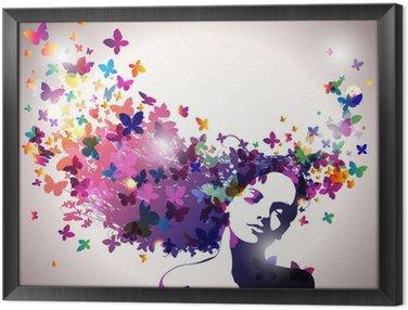 Obraz w Ramie Kobieta z motylami we włosach.