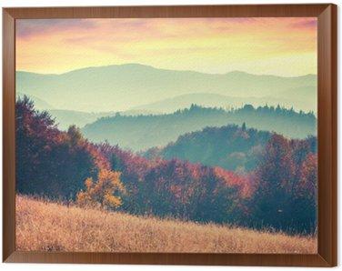 Obraz w Ramie Kolorowa jesień świt w Karpatach
