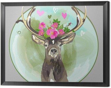 Obraz w Ramie Kolorowe głowa jelenia z kwiatami