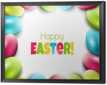 Obraz w Ramie Kolorowe tło Wielkanoc z jaj i miejsce na tekst