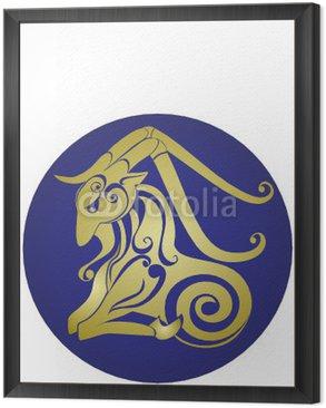 Obraz w Ramie Koziorożec. Znak Astrologia. Zodiak Wektor