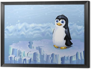 Obraz w Ramie Krajobraz Arktyki i pingwin siedzi na krze