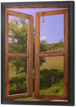 Obraz w Ramie Krajobraz, widok przez okno