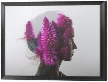 Kreacja podwójna ekspozycja z Portret młoda dziewczyna i kwiaty