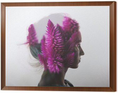 Obraz w Ramie Kreacja podwójna ekspozycja z Portret młoda dziewczyna i kwiaty