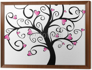 Obraz w Ramie Kwitnienia drzew - różowe serca
