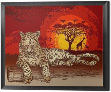 Obraz w Ramie Leopard o zachodzie słońca