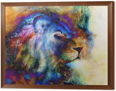 Obraz w Ramie Lew na pięknej tęczy kolorowe tło z odrobiną poczucia przestrzeni, profilu lew portret.