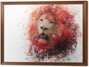 Obraz w Ramie Lion Head akwarela