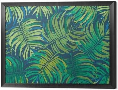 Obraz w Ramie Liści palmowych Tropic Jednolite wektor wzorca