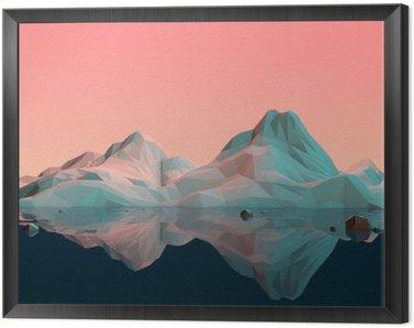 Obraz w Ramie Low-Poly 3D krajobraz górski z wodą i refleksji