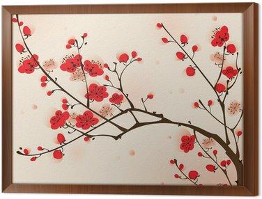 Obraz w Ramie Malarstwo styl orientalny, kwiat śliwy na wiosnę