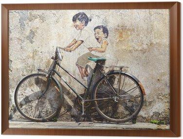 """Obraz w Ramie """"Małe dzieci na rowerze"""" mural."""