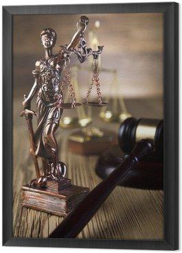 Obraz w Ramie Mallet, kodeks prawny i skale sprawiedliwości