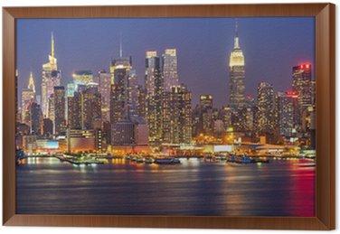 Obraz w Ramie Manhattan w nocy
