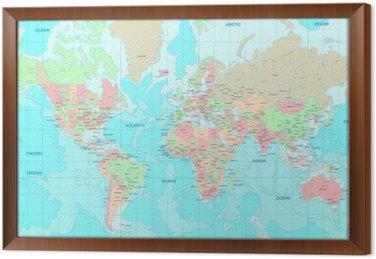 Obraz w Ramie Mapa polityczna świata