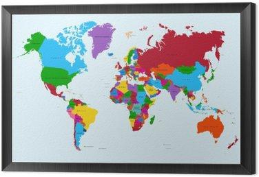 Mapa świata, atlas krajów kolorowe eps10 plik wektorowy.