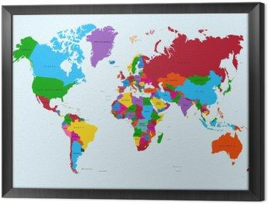 Obraz w Ramie Mapa świata, atlas krajów kolorowe eps10 plik wektorowy.