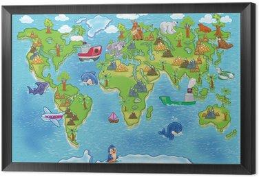 Obraz w Ramie Mapa świata dla dzieci