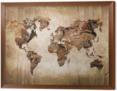 Obraz w Ramie Mapa świata drewna, zabytkowe tekstury