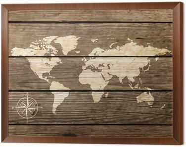 Obraz w Ramie Mapa świata na desce wektora