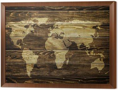 Obraz w Ramie Mapa świata na tle drewna