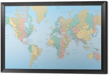 Obraz w Ramie Mapa świata z strefami czasowymi