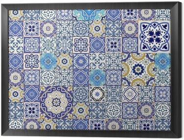 Obraz w Ramie Mega szwu wzór patchwork z kolorowych płytek marokańskich