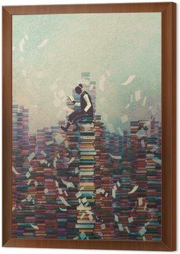 Obraz w Ramie Mężczyzna czyta książkę siedząc na stos książek, koncepcja wiedzy, ilustracja malarstwo