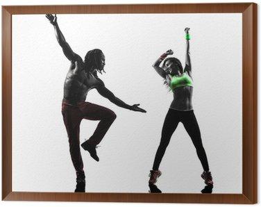 Obraz w Ramie Mężczyzna para i kobieta wykonywania biznesowe sylwetka taniec zumba