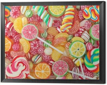 Obraz w Ramie Mieszane kolorowe owoce Bonbon bliska