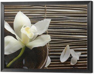 Obraz w Ramie Miska orchidea, Płatek na maty bambusowe