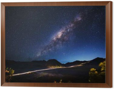 Obraz w Ramie Mleczna droga przez Mt.Bromo, Jawa Wschodnia, Indonezja