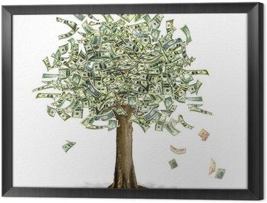 Obraz w Ramie Money Tree z notatkami Dolar amerykański bank w miejsce liści.